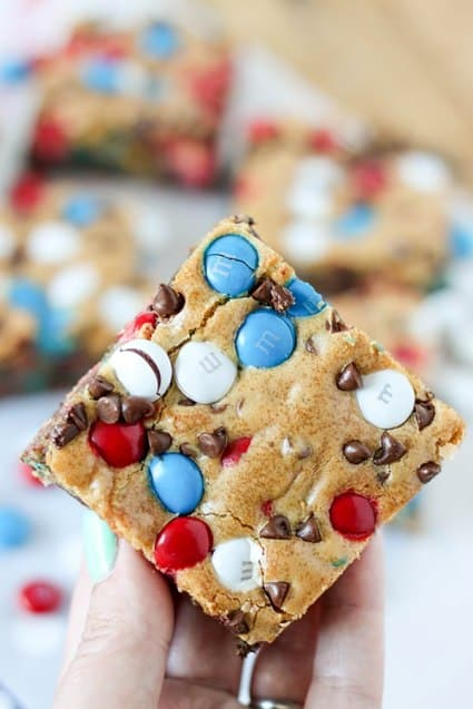 Red White and Blue Cookie M&M Bars 4th of July desserts