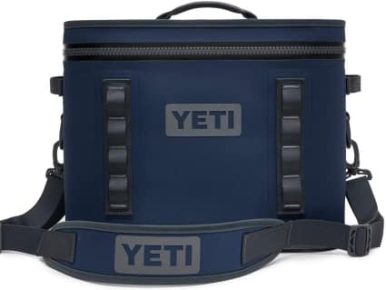 navy blue soft sided yeti cooler with strap one of the Father's Day ideas