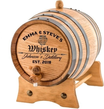 Gift Ideas for Father's Day personalized custom engraved oak aging barrel for whiskey, beer, wine, bourbon tequila rum moonshine and more