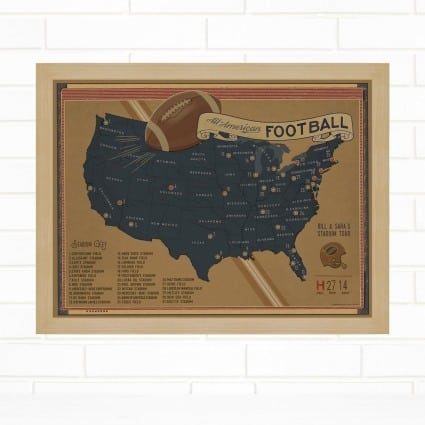 personalized push pin vintage style travel sports map gifts for Father's Day ideas