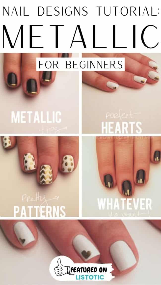 Metallic easy beginners nail art.