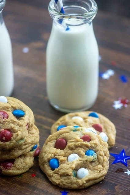 fourth of july cookies simple and chewy with a glass of milk