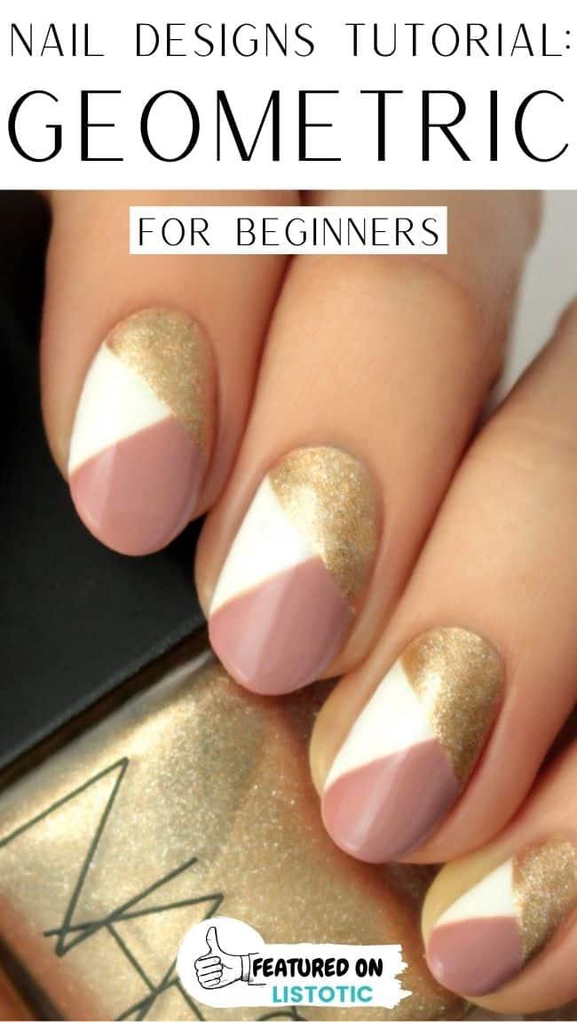 Geometric nail designs.