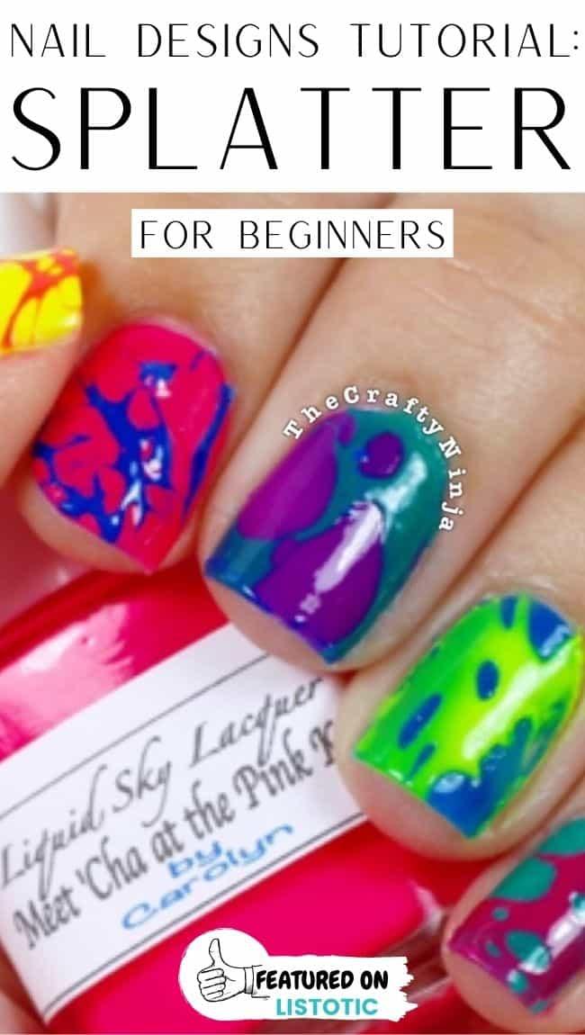 Hairspray splatter beginners nail art