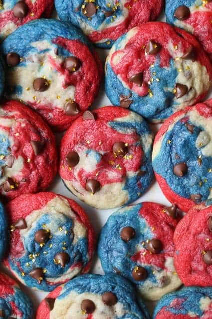swirled red white and blue chocolate chip cookies