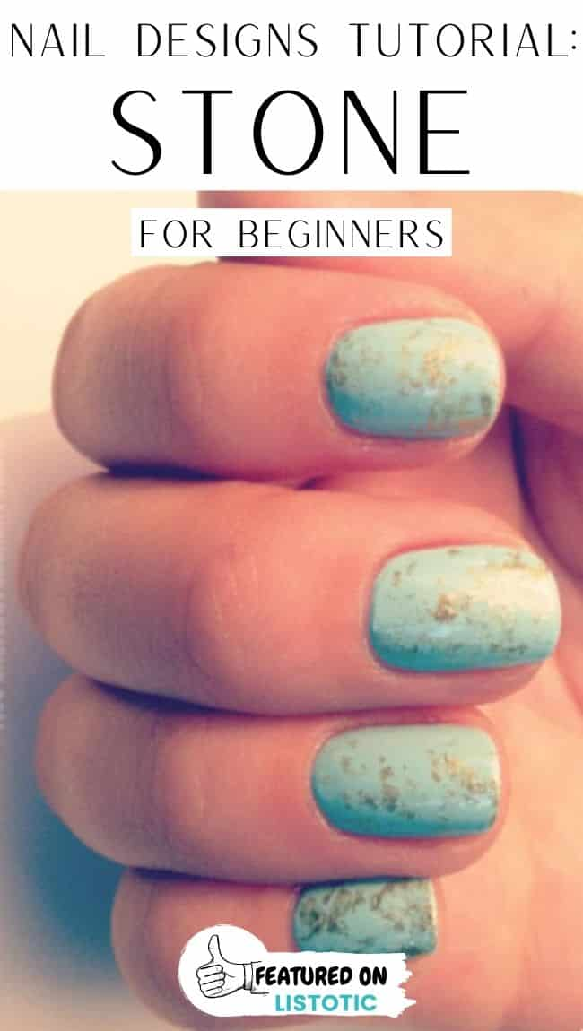 Turquoise and gold stone beginners nail art.