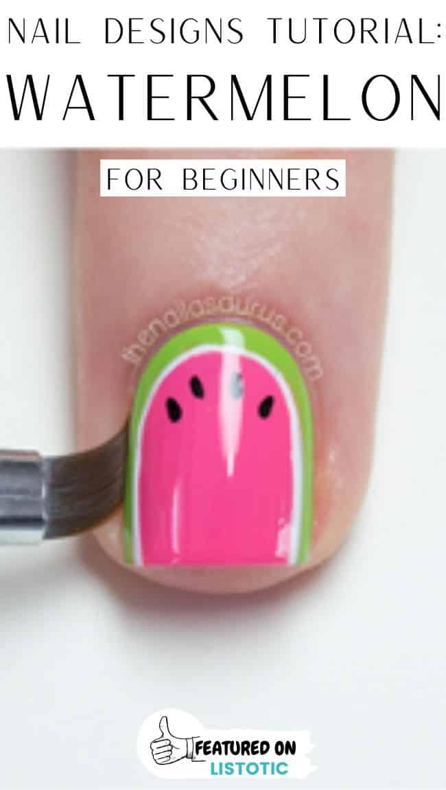 Watermelon polish on fingernails