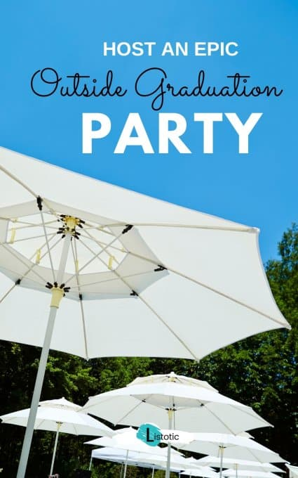 backyard party umbrellas set up for graduation party outside