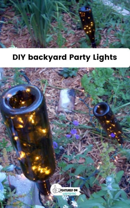 wine bottle lights outside graduation party ideas