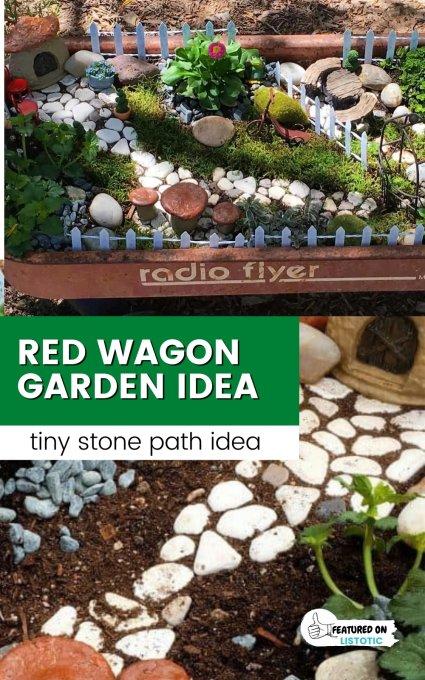 red wagon fairy garden ideas