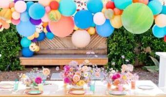 colorful backyard party decorations