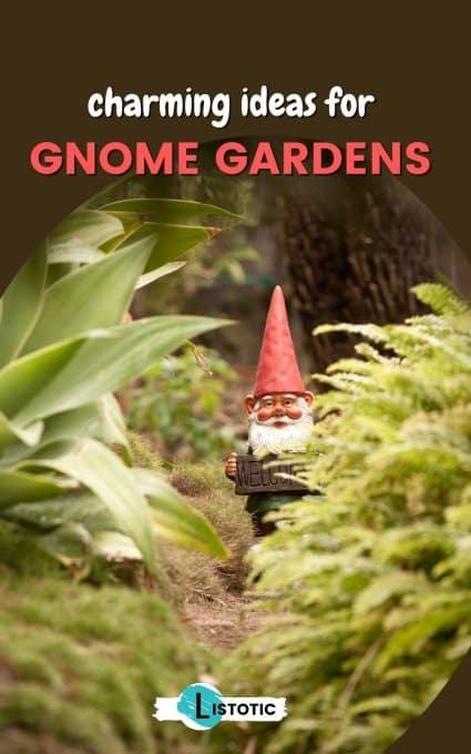 gnome hiding in the backyard garden