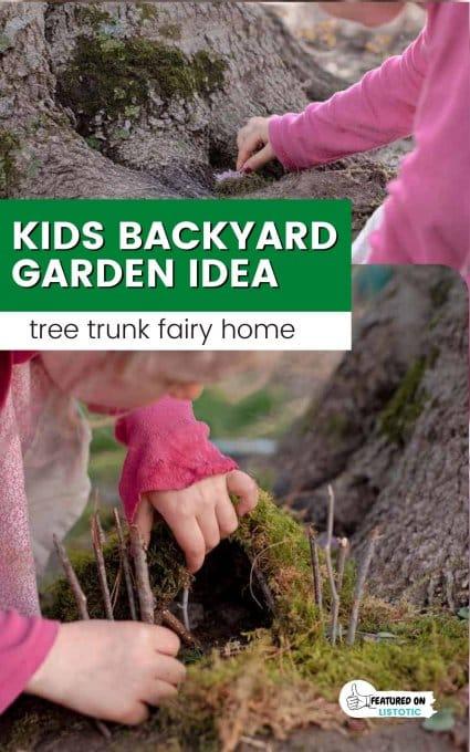 tree trunk fairy garden ideas