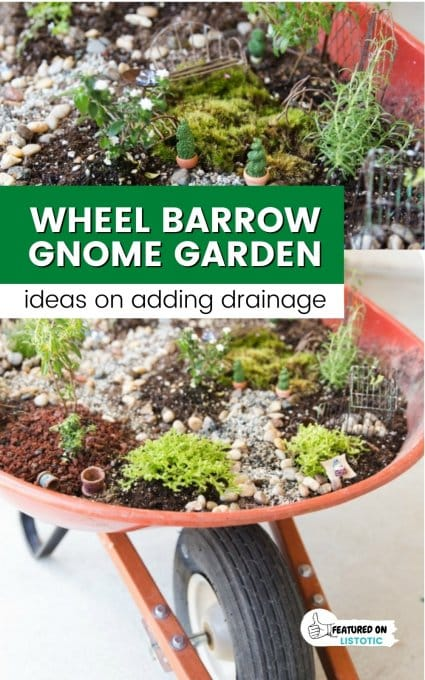 fairy garden ideas wheel barrow with garden planted in it