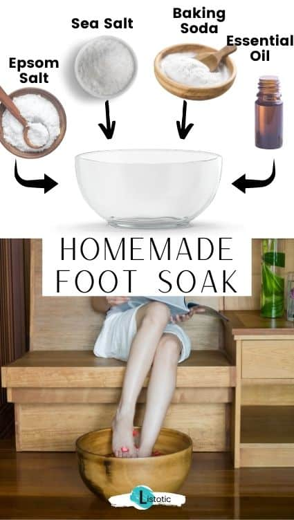 DIY foot soak for daily foot care routine.