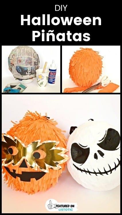 DIY Halloween themed pinatas for kids.