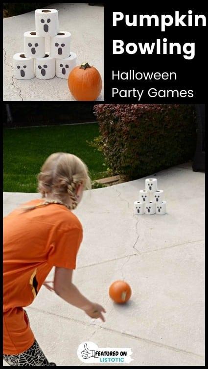 DIY pumpkin bowling game for kids.