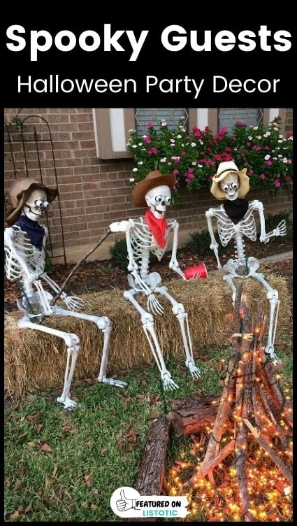 Spooky plastic skeleton decoration idea.